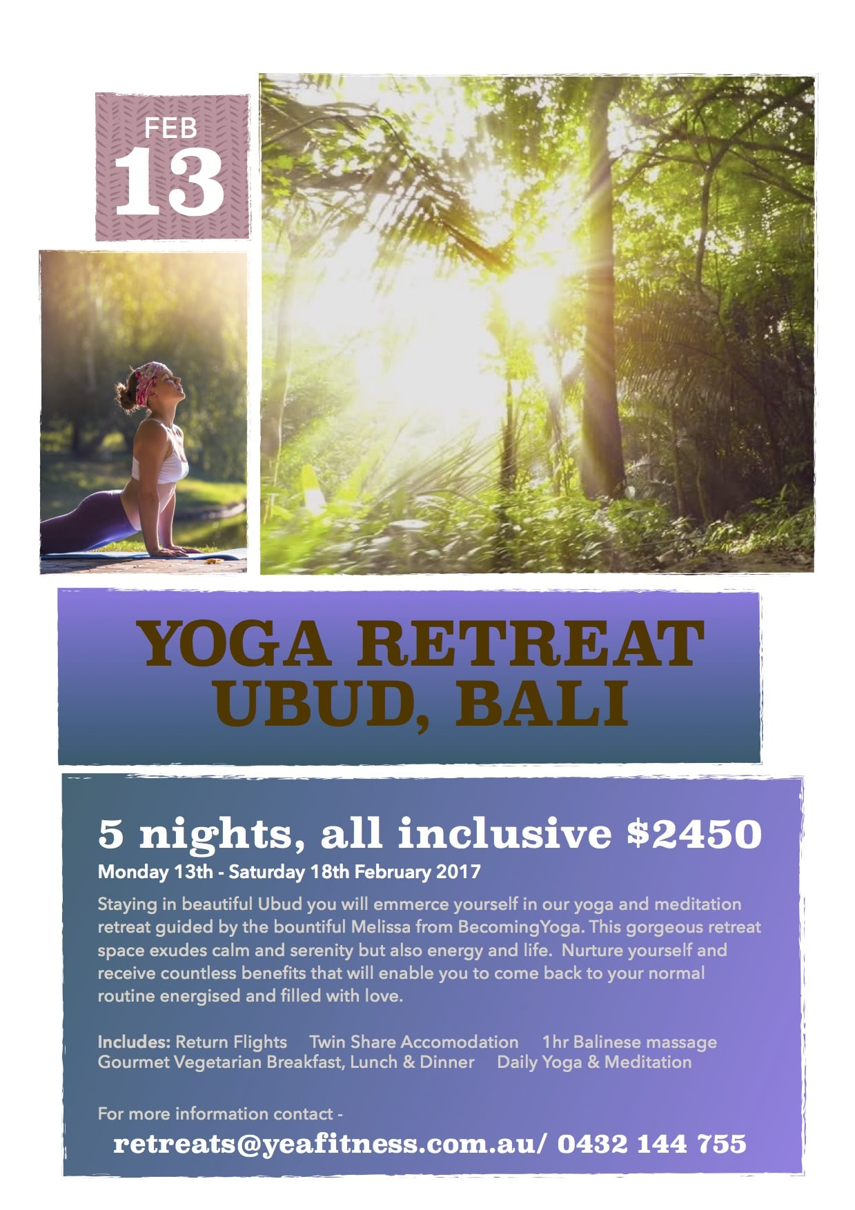 2017 is a unique energetic year of renewal and new beginnings. In celebration of this Becoming Yoga has joined with Claire from Yea Fitness to offer a gorgeous retreat experience in Ubud, Bali.